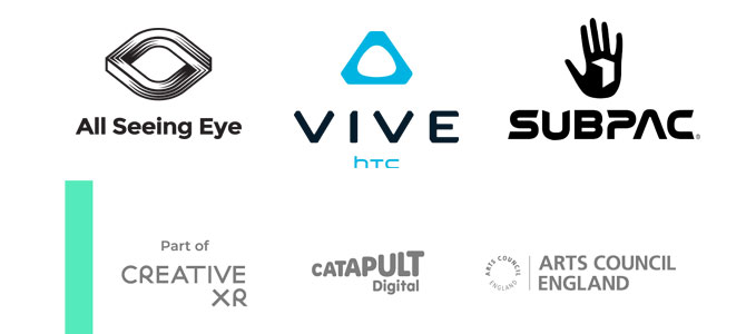 The logos of the various partners in the Immersive Histories: Dambusters Virtual Reality Experience