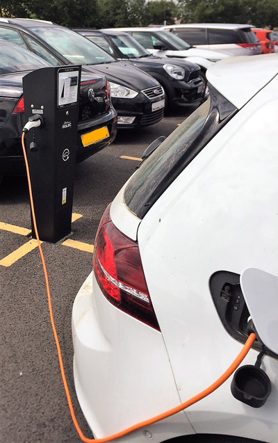 One of our electric vehicle chargers in operation