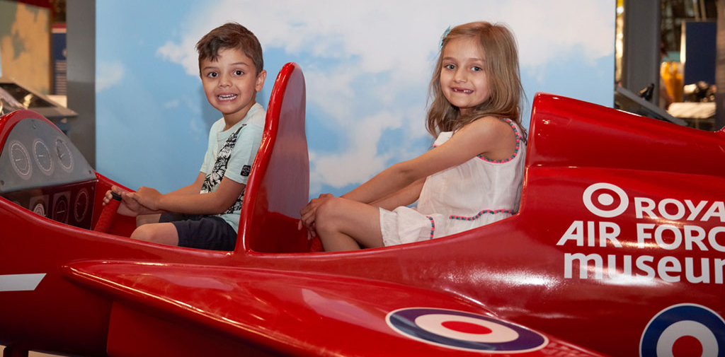 Young visitors at 'RAF Stories: The First 100 Years 1918 - 2018' exhibition