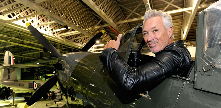 Martin Kemp sitting in our Mk16 Spitfire
