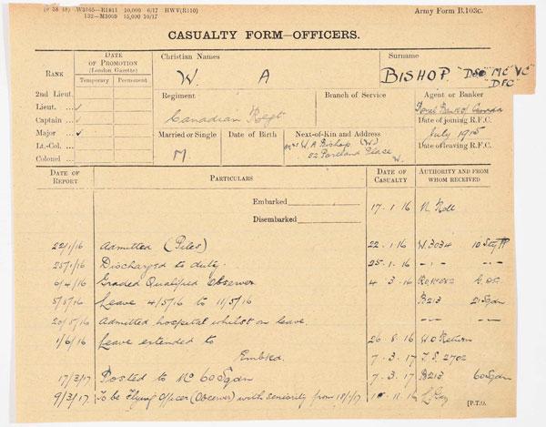 William Bishop's Casualty Form