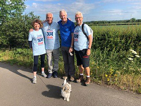 From left to right: Maggie Appleton CEO of the Museum, Robin Southwell Museum Ambassador, Andy Pulford Chairman of the Board of Trustees, Nick Sanders Museum Trustee and Ollie the dog.