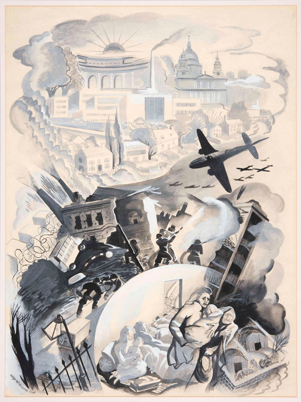 London as it Was During the Blitz by Olga Lehmann, watercolour on paper; Gouache on paper