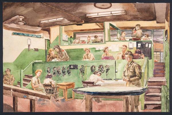 Anti-aircraft gun control centre by Elva Blacker, watercolour on paper