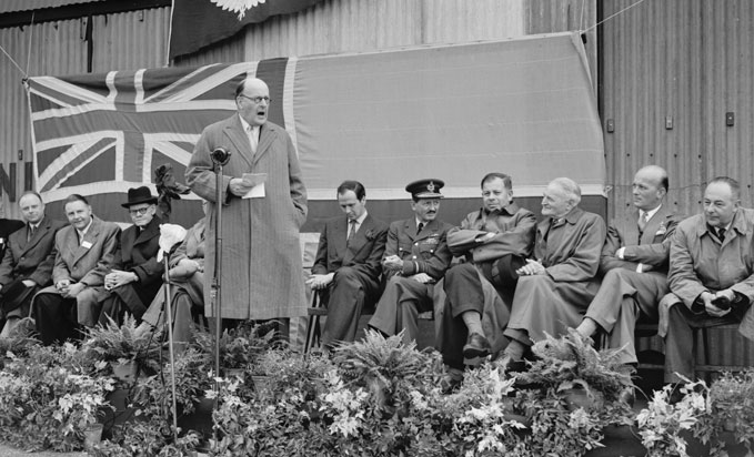 Lord Brabazon declaring the competitions open, World Gliding Championships, Great Hucklow, 19-23 July 1954