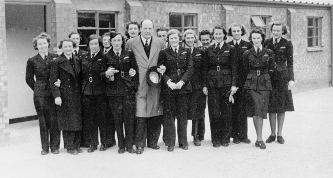 Lord Brabazon with female pilots of the Air Transport Auxiliary, White Waltham, 1941