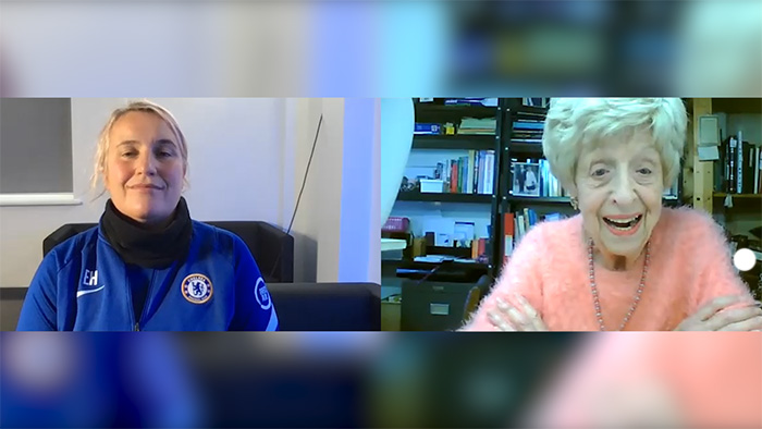 Emma Hayes, manager of Chelsea women, speaking to Ruth Bourne, a Jewish British Royal Naval Veteran