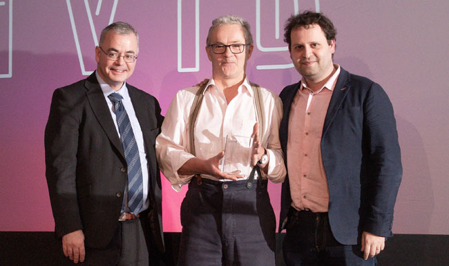 Martin Morgan (centre) receiving the Best British Book Award