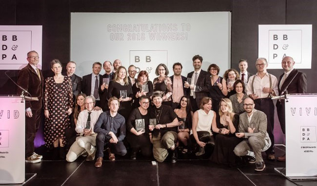 Martin Morgan (far right) with the other winners of the British Book Design and Production Awards 2018