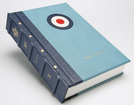 The leather bound exterior of the RAF Anthology