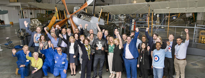 Staff and Volunteers of the Royal Air Force Museum celebrating our win with Martin Kemp