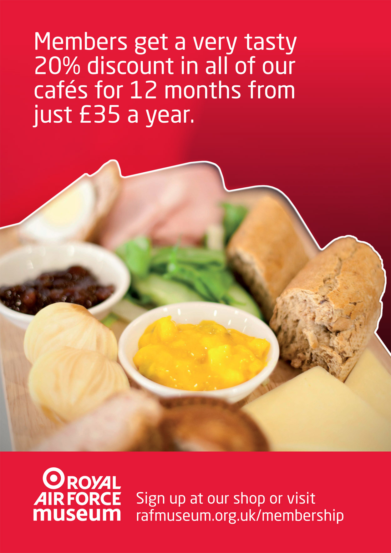 Members get a tasty 20% discount in our cafes for 12 months for just £35 a year.
