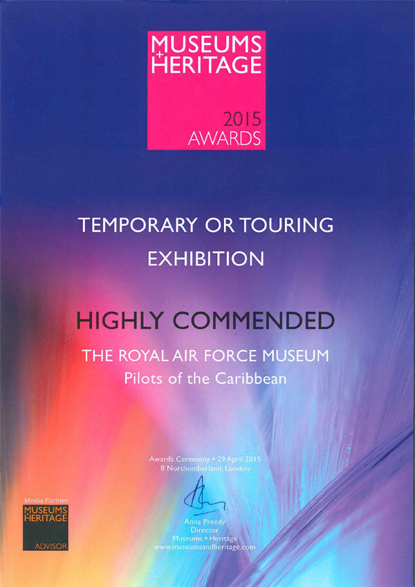 A Copy of our Highly Commended Certificate from the Museum & Heritage Awards