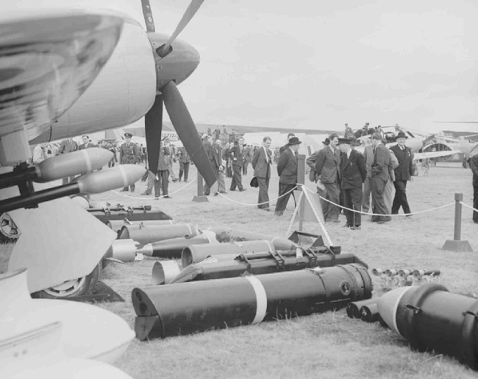 Prime Minister Clement Attlee and others at Farnborough display, c.1949