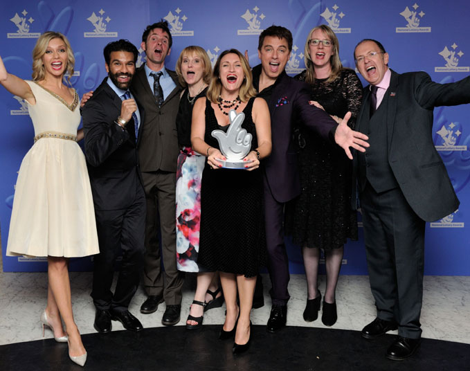 Rachel Riley & John Barrowman with Balji Singh, Adam Shepperd, Karen Whitting, Angela Vinci, Claire Madge and Phil Clayton of the Royal Air Force Museum
