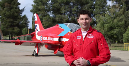 Squadron Leader David Montenegro, Red 1 and Team Leader of the Royal Air Force Aerobatic Team, the Red Arrows, talks.