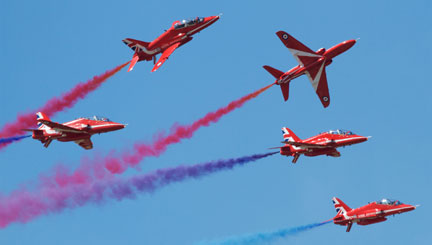 The Red Arrows Team in mid-display