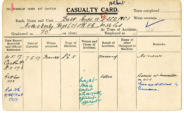 Albert Ball's casualty card, reporting his death.