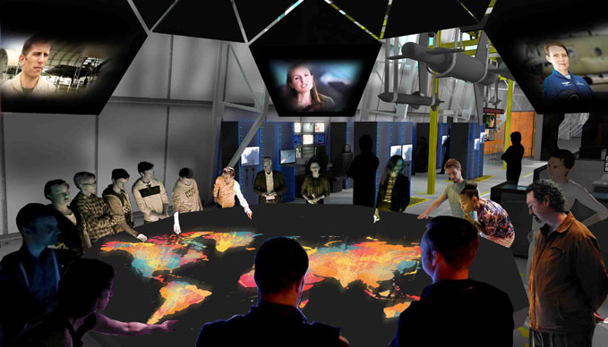 An artist's impression of the Debate Chamber in the 'RAF Now and the Future' Exhibition.