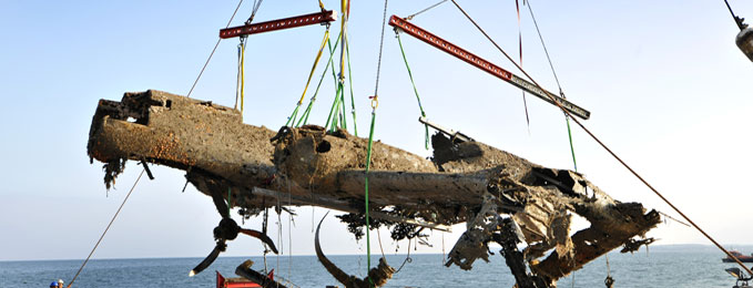The Dornier Do17 being lifted on 10th June 2013