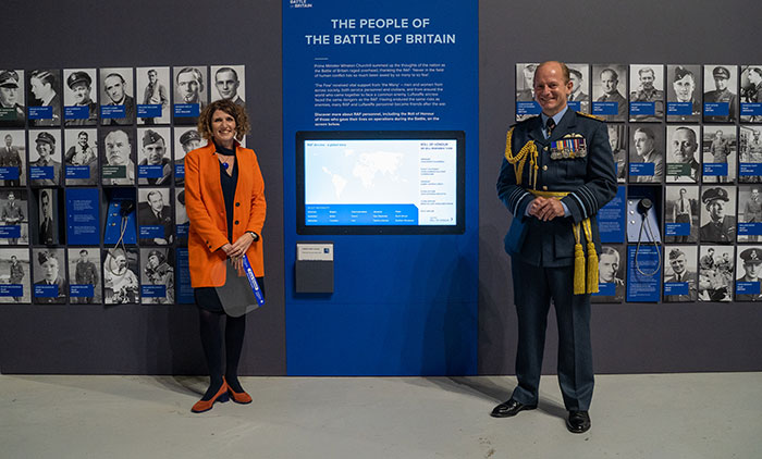 Maggie Appleton (Museum CEO) with Air Chief Marshal Mike Wigston CBE ADC Chief of the Air Staff  in front of our interactive Roll of Honour for those who fell in the Battle of Britain