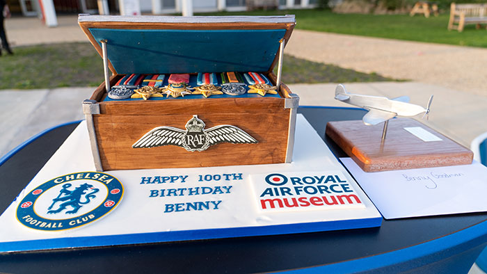 Benny Goodman's 100th Birthday cake from Chelsea, plus Spitfire Sculpture made by the Museum's Apprentices