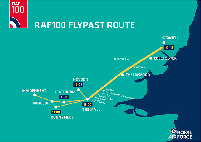 RAF100 Flypast route