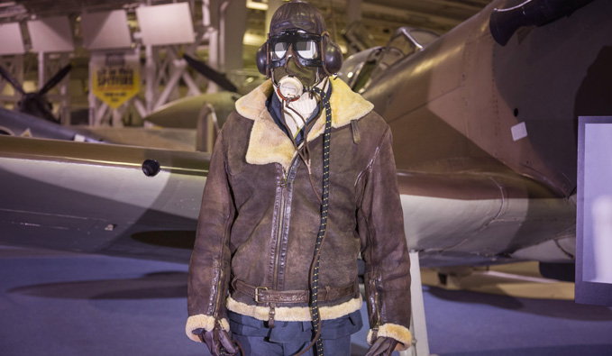 Tom Hardy's Costume by our Mark I Spitfire in Historic Hangars