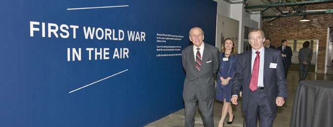 L to R - The Duke of Edinburgh with Angela Vinci ( Head of Exhibitions & Interpretation) & Sir Glenn Torpy Chairman of the Board of Trustees
