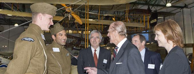 The Duke of Edinburgh talking to London's 2 Apprentices Brendan O'Gorman & Baljit Singh Badesha