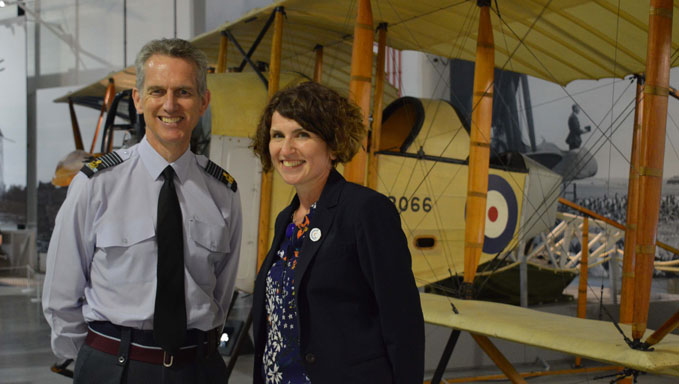 Air Chief Marshal Sir Stephen Hillier with CEO Maggie Appleton