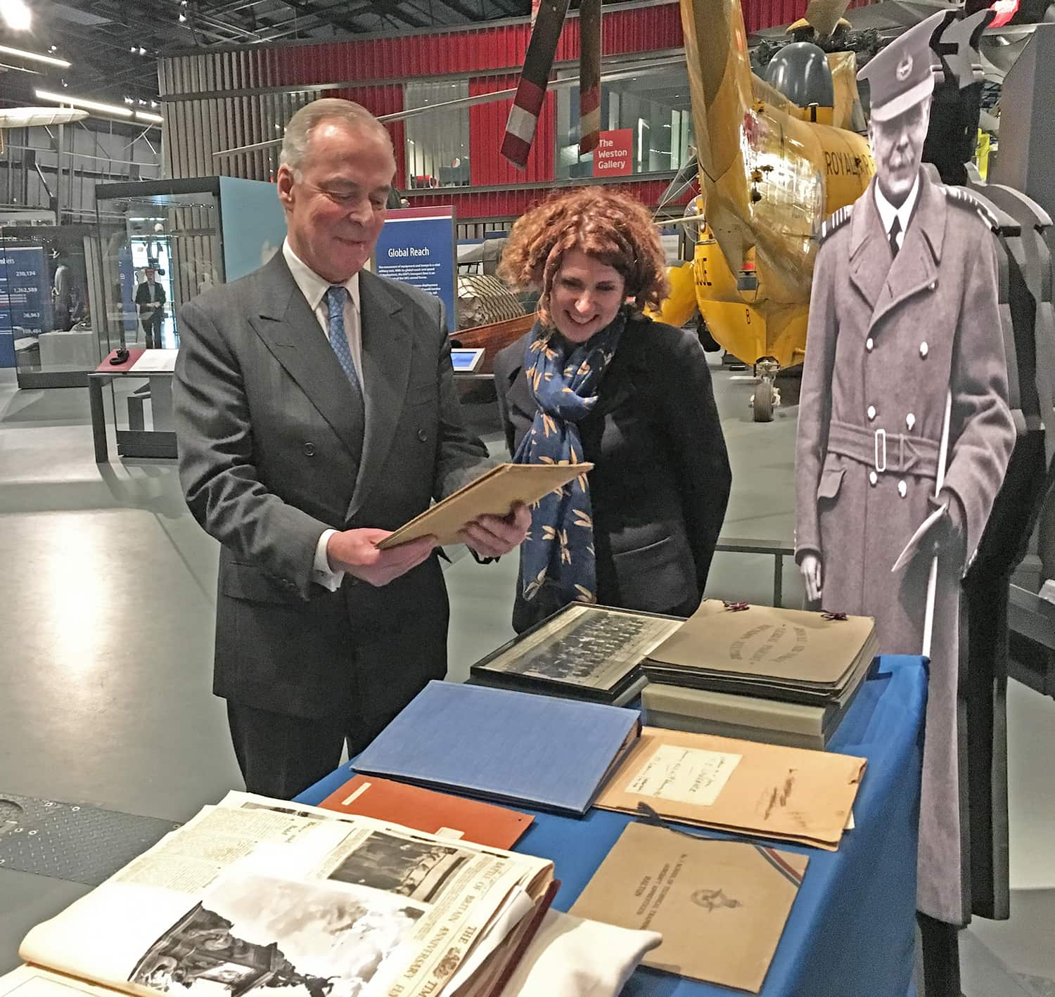 Lord Trenchard and Maggie Appleton, CEO RAF Museum at the Royal Air Force Museum, London.