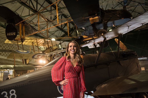 Katie Piper in our First World War in the Air exhibition, in Hangar 2