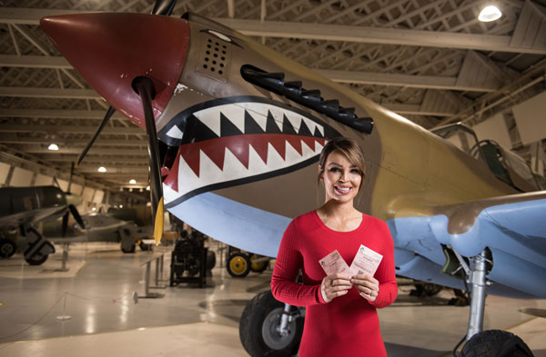 TV Presenter and Strictly Come Dancing Star Katie Piper in front of our Curtiss Kittyhawk IV