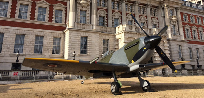 Our Mk16 Spitfire On Horse Guards Parade until mid afternoon Saturday