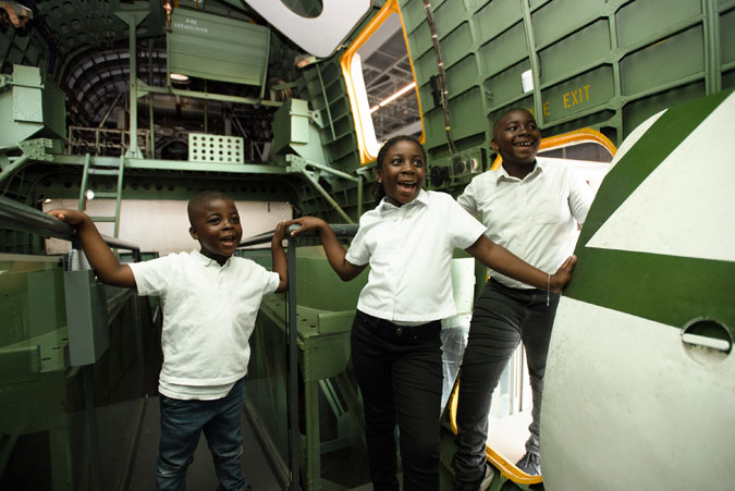 A group of young visitors inside of our Sunderland Flying Boat