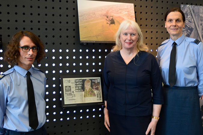 From Left to Right: Danny Holt, Caroline Paige, and Squadron Leader Cathering Lawson, standing next to Caroline Paige's event marker