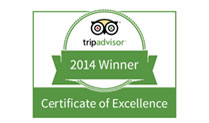 We're Awarded a 2014 Tripadvisor Certificate of Excellence