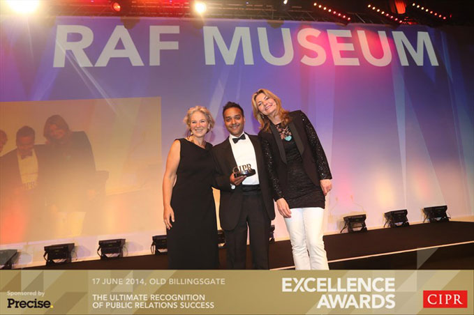 PR Manager, Ajay Srivastava, with comedienne Jo Caulfied (left) receiving the award on behalf of the RAF Museum