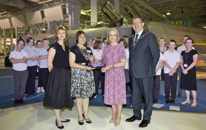 Left to right: Karen Whitting (Director Public Programming RAF museum); Ellen Lee (RAF Museum); Janet Corcoran (NAS) and Councillor Hugh Rayner
