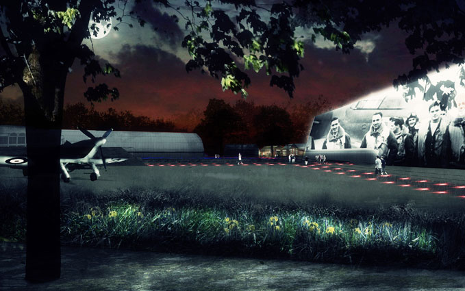 An artist's impression of what London's re-landscaped site will look like at night.
