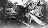 Wreckage of two Curtiss JN4 aircraft after mid-air collision