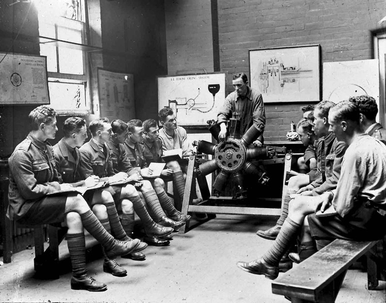 RFC class being given instruction on the rotary engine, n.d.