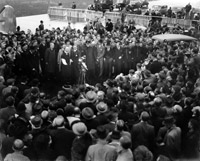 Neville Chamberlain Speaking at Heston Airport
