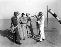 Instructor using a model aircraft to explain behaviour of aircraft, 4 Flying Training School, Abu Sueir, Egypt