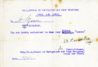 Authorisation to Lt G.W. Moore to wear Pilot's brevet, 15 October 1918