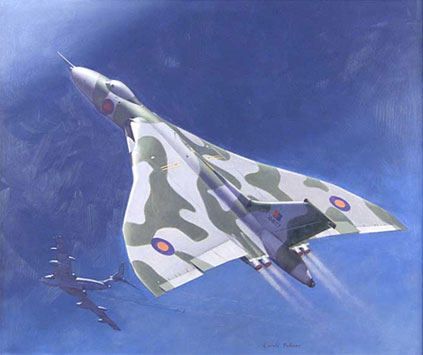 An Avro Vulcan B2 after being refuelled by a Handley Page Victor K2 tanker during the Falklands War by Gerald Palmer