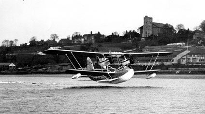 Sir Alan Cobham's Short Singapore flying boat taking off at the start of his incredible African adventure