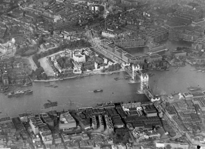Aerial photograph of the Tower of London and Tower Bridge taken by Airco