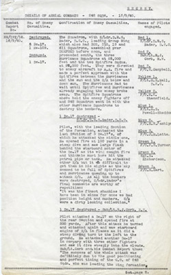 242 Squadron Combat Report for 15 September 1940 - Page 1